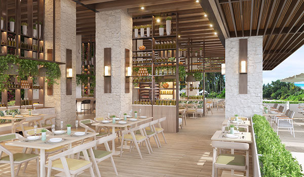 Luxurious al fresco restaurant with contemporary decor and greenery