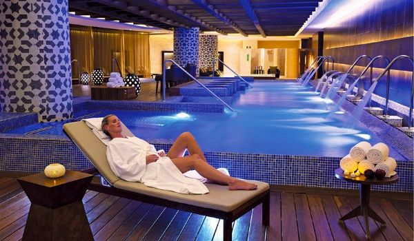 Woman on lounger in spa