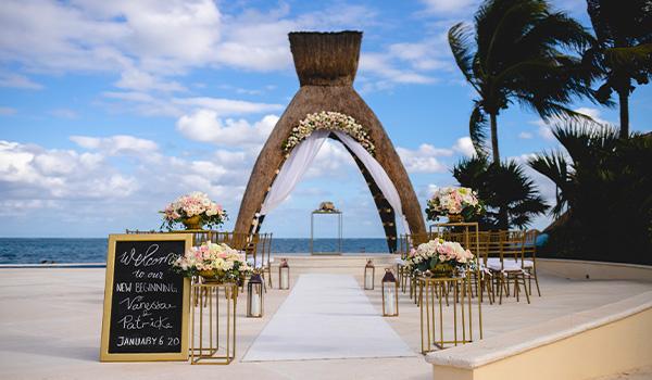 Wedding ceremony set up overlooking the beach