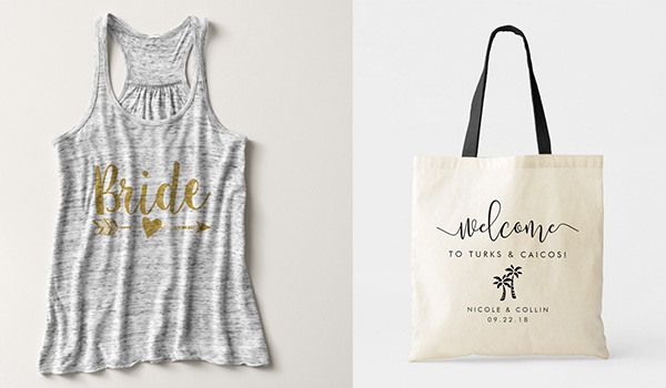 Tank top on the left and tote bag on the right