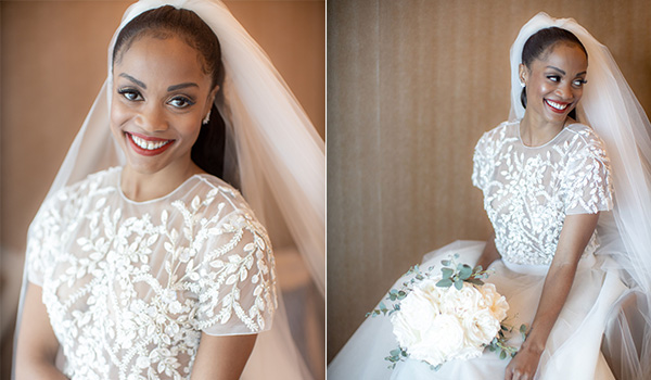 Side-by-side images of the bride in her wedding dress