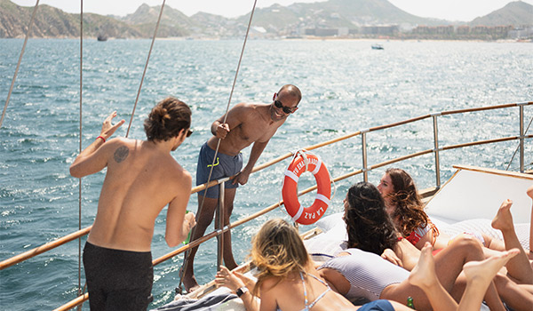 Group of people lounging on a yacht
