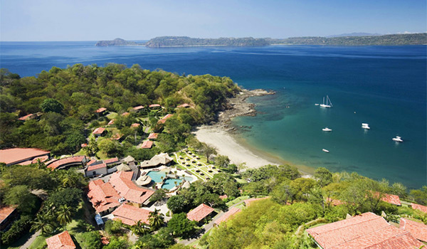 Aerial view of the beach and grounds of Secrets Papagayo Costa Rica