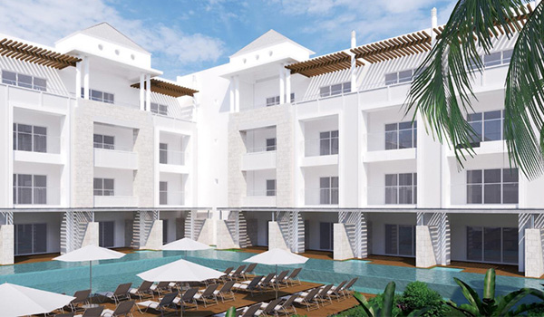 Concept image of the resort exterior and swim-out suites