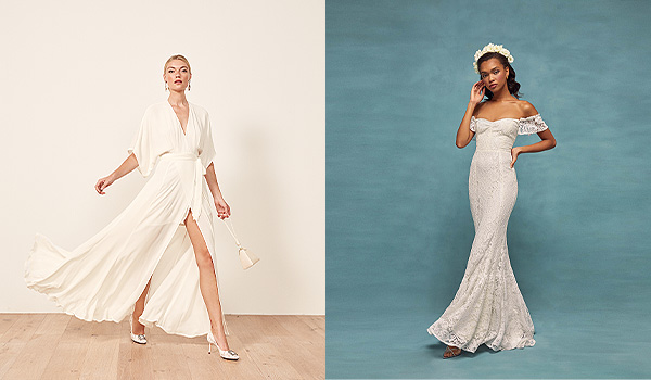 Wrap dress on the left and off-the-shoulder gown on the right