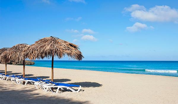 Chaises longues et palapas sur une plage immaculée qui surplombe l'océan