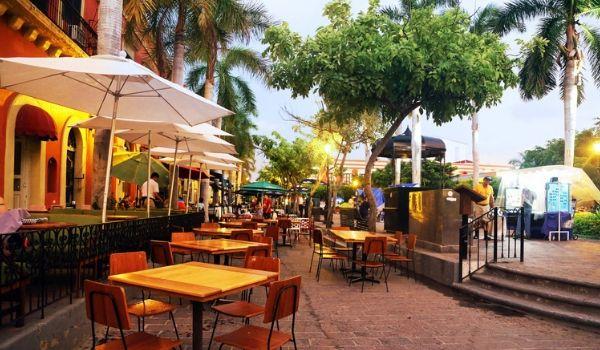 Outdoor patio at the bustling La Plazuela