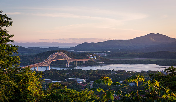 Bridge on the Panama Canal in the distance
