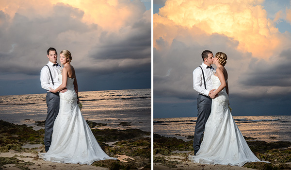 Groom and bride kissing on the beach at sunset