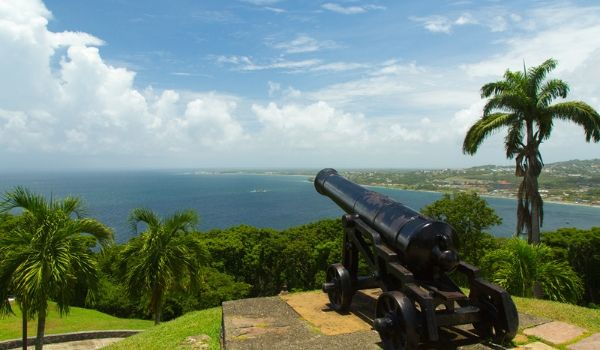 Cannon at Fort King George overlooking the bay