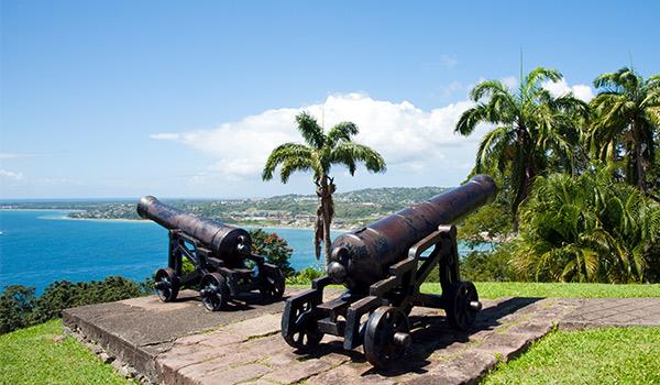 Canon du Fort King George surplombant la baie