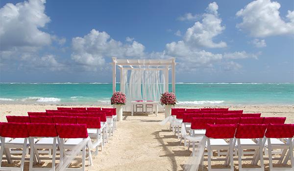Wedding ceremony set-up on the beach
