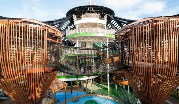 Water park on the deck of cruise ship