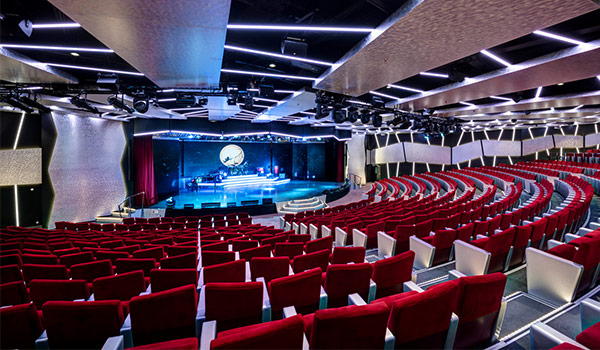 Modern theater area on board a cruise ship