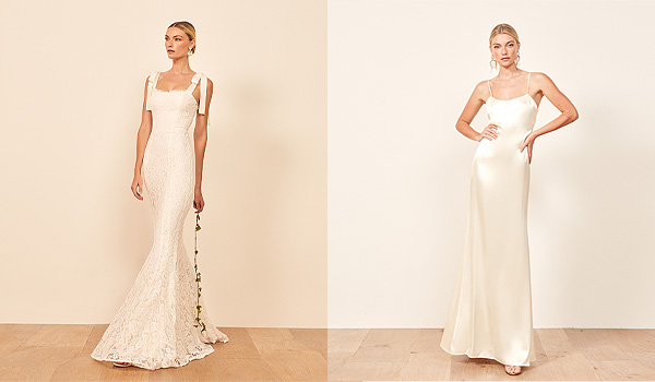 Lace mermaid gown on the left and silk gown with thin straps on the right