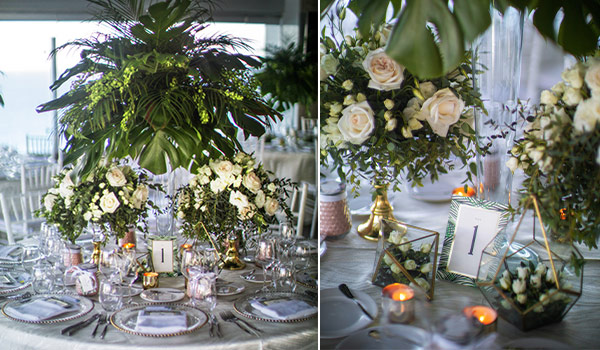 Side-by-side photos of wedding decor