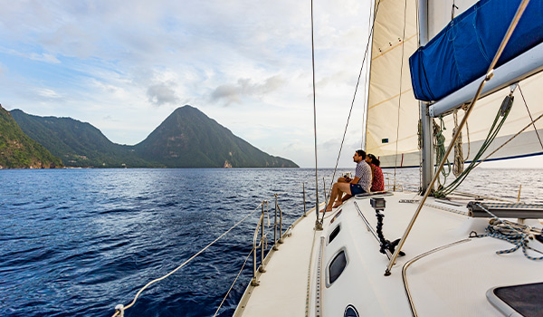 Catamaran cruise overlooking the famous Piton mountains