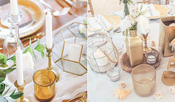 Candles in a variety of sizes in gold jars