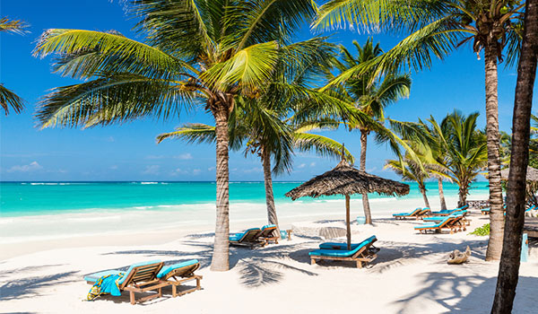 Lavish loungers on the pristine beach surrounded by lush palms and turquoise waters