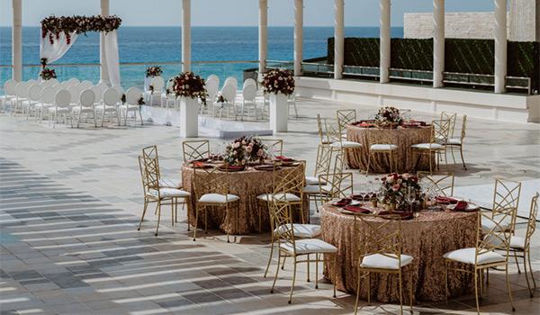 Wedding reception on an elegant terrace
