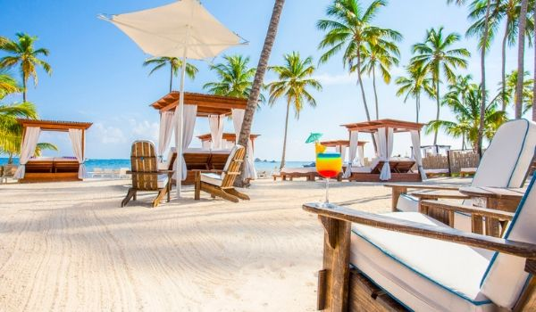 Loungers on a white-sand beach