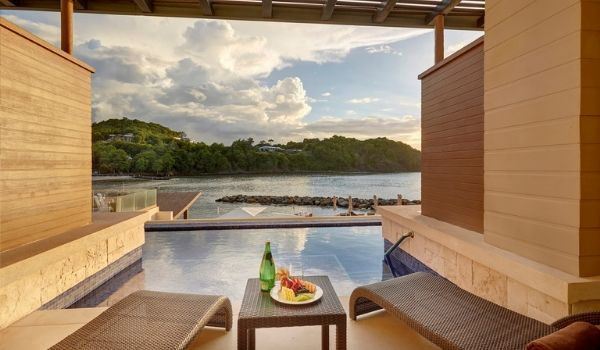 Views of Saint Lucia's lush landscapes from semi-private pool