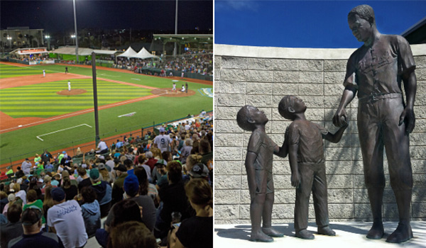 Baseball field on the left; Jackie Robinson statue on the right