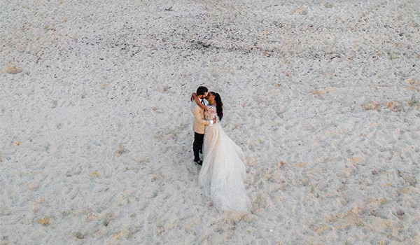 Aerial view of bride and groom kissing on the beach