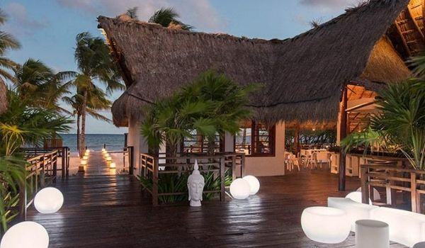 Beach club overlooking the Caribbean Sea