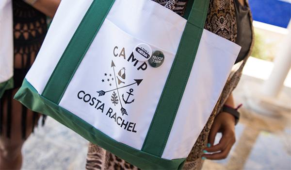 "Custom tote bag with writing saying ""Camp Costa Rachel"""