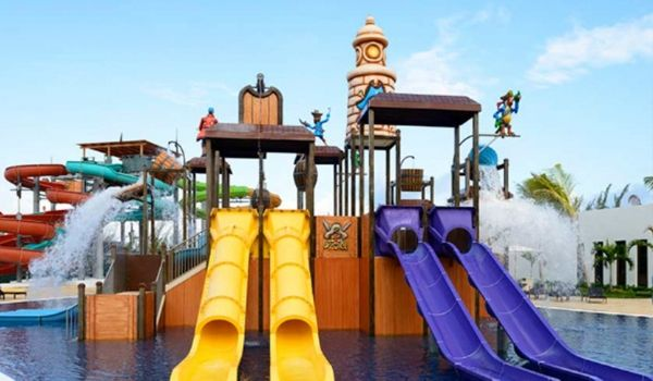 Water park with small slides for young children