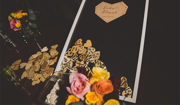 Shadow box surrounded by flowers