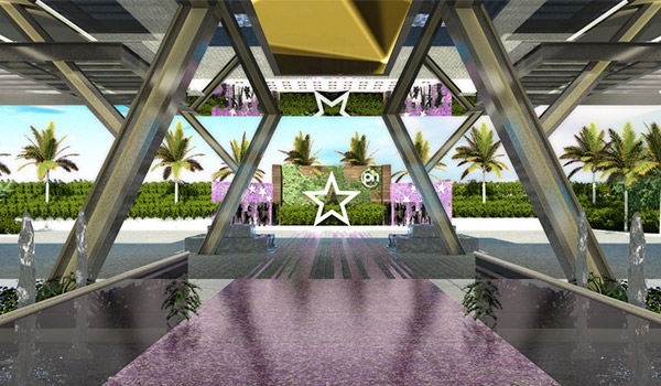 Lobby area with a star and a purple red carpet
