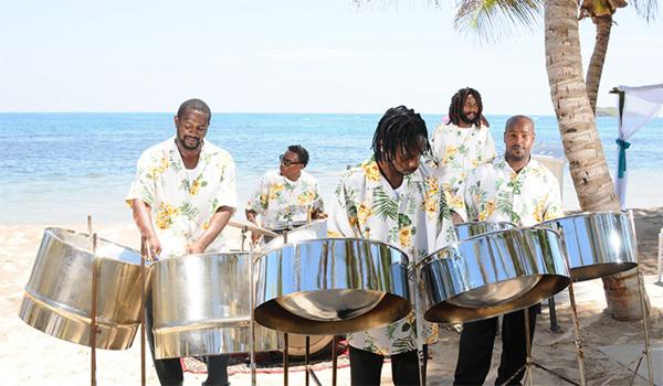 Reggae band playing on the beach