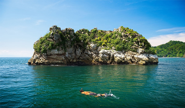 Person snorkelling in front of an island
