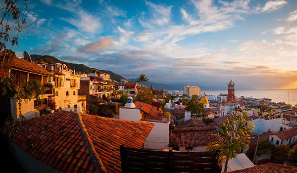 Colonial buildings of Old Town Puerto Vallarta overlooking the ocean