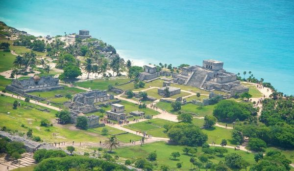 Aerial shot of the ancient Mayan ruins in Tulum
