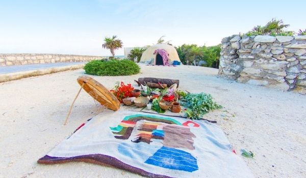 Towel, plants and herbs for a traditional spa treatment laid out on beach