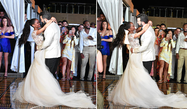 Side-by-side images of the bride and groom dancing