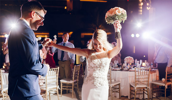 Bride and groom dancing at their after-party