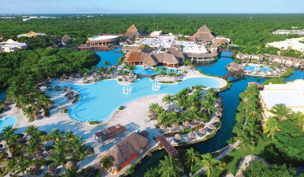 Aerial view of the resort's sprawling pool area