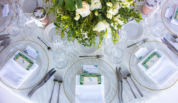 Elegant dinner table with floral arrangements