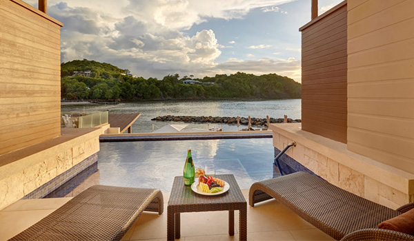 Swim-out pool looking out on the lush landscapes of Saint Lucia