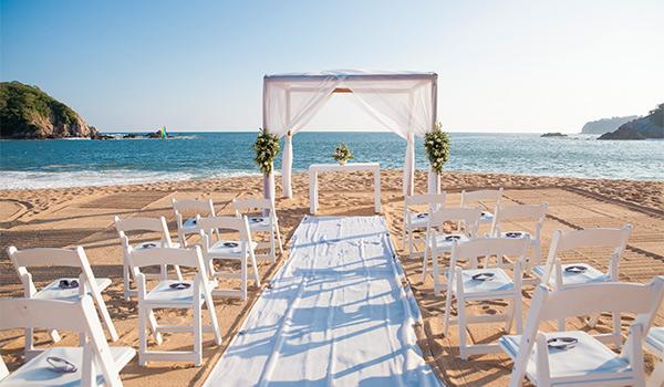Beachfront wedding venue overlooking turquoise waters