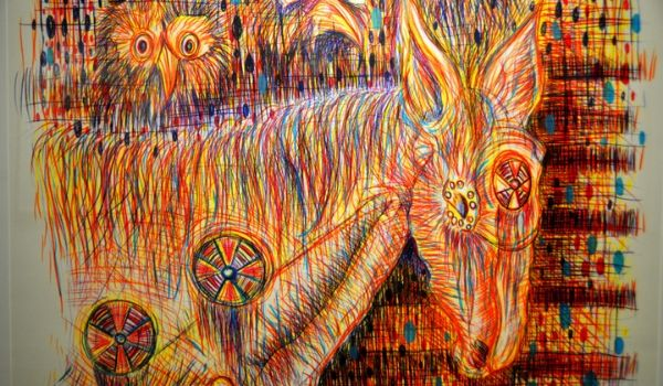 Colourful abstract painting of a donkey