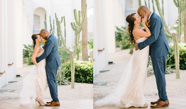 Side by side photos of bride and groom kissing in the resort lobby