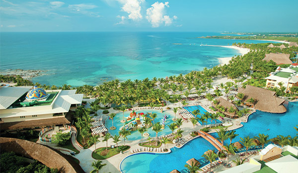 Aerial view of Barceló Maya Palace's sparkling pools