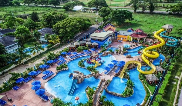 Aerial view of Jewel Runaway Bay Beach and Golf Resort and water slides