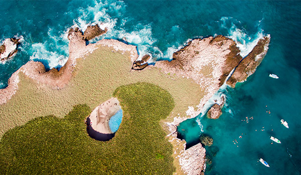 Aerial view of a hidden beach