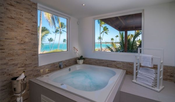 Two person Jacuzzi in-suite with view of Punta Cana coastline
